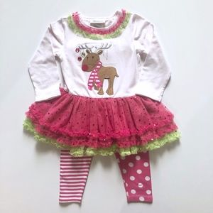 Girls Bonnie Jean Pink Holiday Reindeer Outfit 2T